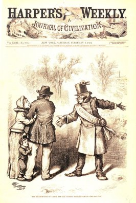 The Emancipation of Labor and the Honest Working-People, from Harper's Weekly, (February 7, 1874), cover page
