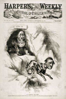 """An Aggressive """"Still Hunt"""", from Harper's Weekly, (September 30, 1876), cover page"""