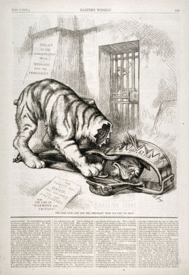 The Dead Lock - And Now the Democratic Tiger Has Lost His Head, from Harper's Weekly, (July 8, 1876), p. 557