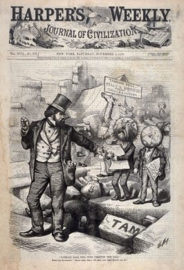 Tammany Hall Will Whip Creation This Fall, from Harper's Weekly, (November 1, 1873), cover page