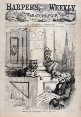 Keeping the Money Where It Will Do the Most Good, from Harper's Weekly, (October 11, 1873, cover page