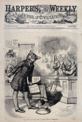 The Game of Fox and Geese, or Legal Trials of the Period, from Harper's Weekly, (March 29, 1873), cover page