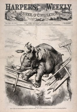 The Off Year, from Harper's Weekly, (November 17, 1877), cover page