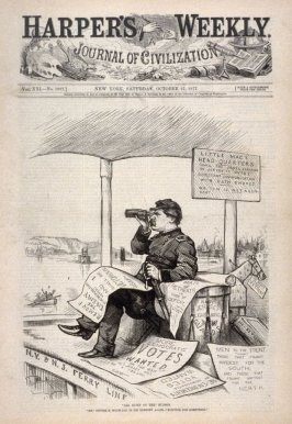 """All Quiet on the"" Hudson, from Harper's Weekly (October 27, 1877), cover page"
