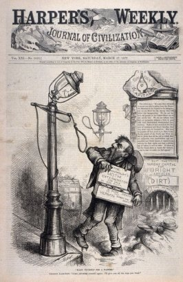 """Hang Yourself for a Pastime"", from Harper's Weekly, (March 17, 1877), cover page"