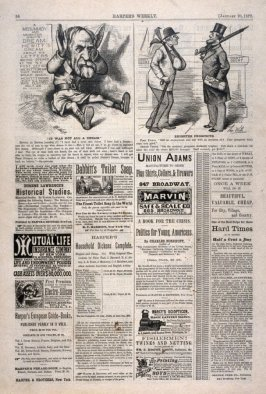 It Was Not All A Dream and Brighter Prospects, from Harper's Weekly, (January 20, 1877), p. 56