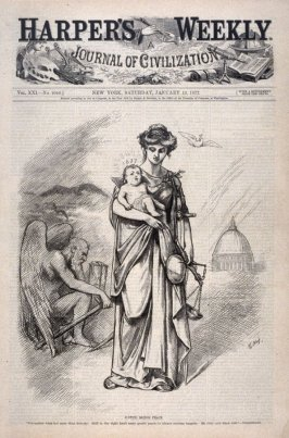 Justice Brings Peace, from Harper's Weekly, (January 13, 1877), cover page
