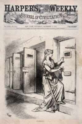 Justice, from Harper's Weekly. (Decmber 13, 1873), cover page