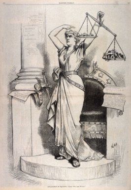Declaration fof Equality-Justice. Five More Wanted, from Harper's Weekly, (August 12, 1876), p. 656