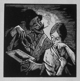 Third image (of ten) for The Salesman , chapter 5 in the book Destiny, A Novel in Pictures by Otto Nückel (New York: Farrar and Rinehart,Inc. [1930 ])