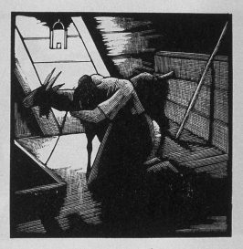 Eighth image (of ten) for The Salesman , chapter 5 in the book Destiny, A Novel in Pictures by Otto Nückel (New York: Farrar and Rinehart,Inc. [1930 ])