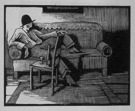 Ninth image (of ten) for The Salesman , chapter 5 in the book Destiny, A Novel in Pictures by Otto Nückel (New York: Farrar and Rinehart,Inc. [1930 ])