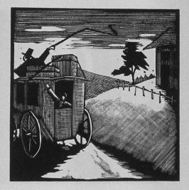 Tenth image (of ten) for The Salesman , chapter 5 in the book Destiny, A Novel in Pictures by Otto Nückel (New York: Farrar and Rinehart,Inc. [1930 ])