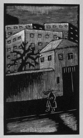 Tenth image (of twelve) for The Child , chapter 6 in the book Destiny, A Novel in Pictures by Otto Nückel (New York: Farrar and Rinehart,Inc. [1930 ])