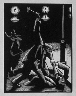 Sixth image (ofeleven) for Vengeance , chapter 9 in the book Destiny, A Novel in Pictures by Otto Nückel (New York: Farrar and Rinehart,Inc. [1930 ])