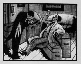 Fifth image (of twenty) for The Seducer, chapter 12 in the book Destiny, A Novel in Pictures by Otto Nückel (New York: Farrar and Rinehart, Inc. [1930 ])