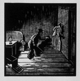 Sixteenth image (of eighteen) for Burden , chapter 14 in the book Destiny, A Novel in Pictures by Otto Nückel (New York: Farrar and Rinehart,Inc. [1930 ])
