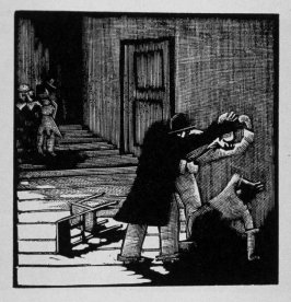Eighth image (of sixteen) for Crime , chapter 15 in the book Destiny, A Novel in Pictures by Otto Nückel (New York: Farrar and Rinehart,Inc. [1930 ])