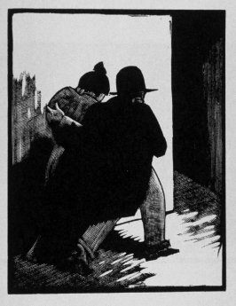 Fourteenth image (of sixteen) for Crime , chapter 15 in the book Destiny, A Novel in Pictures by Otto Nückel (New York: Farrar and Rinehart,Inc. [1930 ])