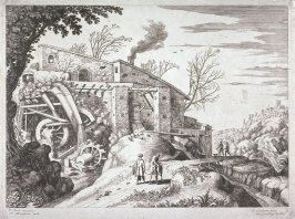 Landscape- Mill and road with four figures