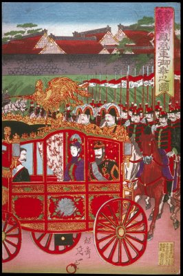 The Imperial Phoenix Carriage Leaves the Palace for the Military Revew at Aoyama (Nishinomaru tenkyo yori aoyama kampeishiki e hoosha goko no zu), right panel of a triptych