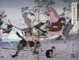 Shigemori and Yoshihira Battling outside the Shishinden Palace, two panels of a triptych