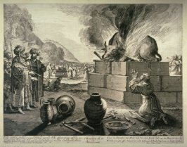 Elias Book of Kings Ch. 18, V 36, Elijah praying to God to extinguish the fire on bull being sacrificed.