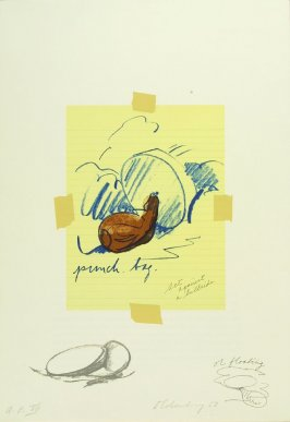 Untitled (Punching Bag), between pgs. II and III, in the book Notes by Claes Oldenburg (Los Angeles: Gemini G.E.L., 1968)