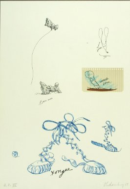 Untitled (Sneaker Lace), between pgs. IX and X, in the book Notes by Claes Oldenburg (Los Angeles: Gemini G.E.L., 1968)