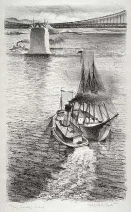 Central Anchorage with Sailing Vessel, no. 2 from Building the Bay Bridge