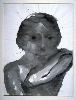 Woman with arm to shoulder