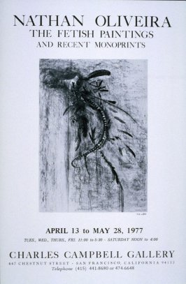 (Poster) Nathan Oliveira: The Fetish Paintings and Recent Monoprints, exhibition at Charles Campbell Gallery, San Francisco, 4/13-5/28/77