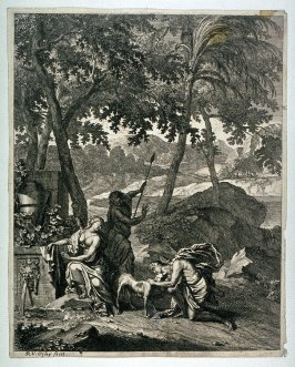 [Landscape with two men and a woman, one of the men is petting a dog ]