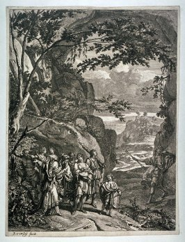 [Rocky landscape with men, women and a satyr]