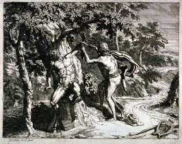 [Man cutting a satyr]
