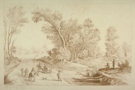 Landscape with road and traveller, stream and fisherman