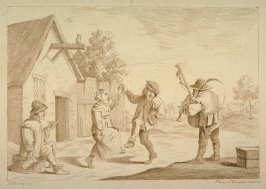 One couple dancing in yard, musicians and man watching