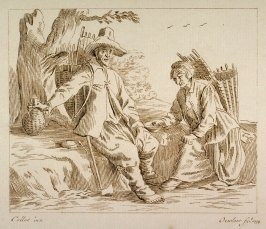 Man and woman seated at road, eating