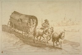 Two couples in wagon drawn by three horses