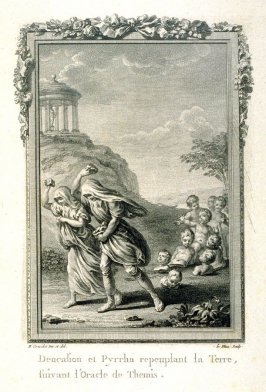 Deucalion and Pyrrha repeuplant la terre, suivant l'Oracle de Themis Deucalion and Pyrhha repopulate the earth, following the Oracle of Themis), pl. 16 in the book, Les Métamorphoses d'Ovide ( Paris: Basan / Le Mire, 1767)[facsimile edition, unknown publi