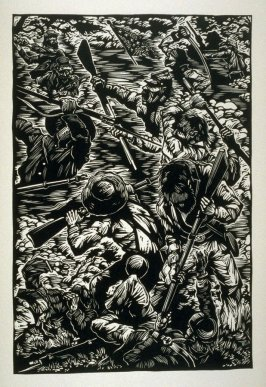 Untitled (battle scene), first plate, opposite page xii, in the book One of the Missing,Tales of the War between the States by Ambrose Bierce (CoveloCA: Yolla Bolly Press, 1991)
