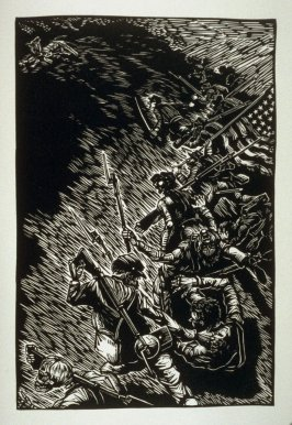 Untitled (battlefield scene), fourth plate, opposite page 26, in the book One of the Missing, Tales of the War between the States by Ambrose Bierce (Covelo CA: Yolla Bolly Press, 1991)