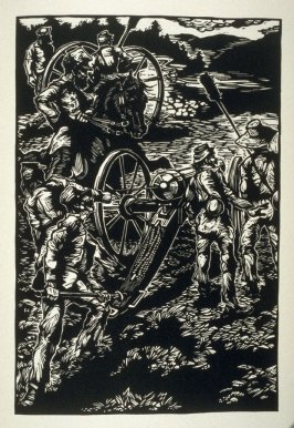 Untitled (battlefield scene), fifth plate, opposite page 34, in the book One of the Missing, Tales of the War between the States by Ambrose Bierce (Covelo CA: Yolla Bolly Press, 1991)