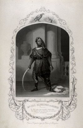 Mr. Ira Aldridge as Aaron in Titus Andronicus, Act IV , Scene II (from a daguerreotype by Paine of Islington)