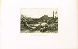 """""""_till Vesper bade the swain..."""", illustration for Eclogue 6, opposite page 64 in the book An English Version of the Eclogues of Virgil by Samuel Palmer (London: Seeley & Company, 1883)"""