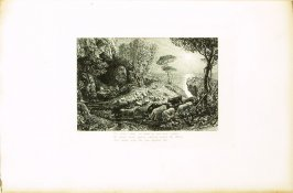"""""""Then, to our goats at milking time return.."""", illustration for Eclogue 9, opposite page 88 in the book An English Version of the Eclogues of Virgil by Samuel Palmer (London: Seeley & Company, 1883)"""