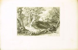 """Pan came, Arcadian shepherd ever good"", second illustration for Eclogue 10, opposite page 94 in the book An English Version of the Eclogues of Virgil by Samuel Palmer (London: Seeley & Company, 1883)"