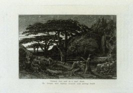 """Untimely lost and by a cruel death…"", illustration for Eclogue 5, opposite page 54 in the book An English Version of the Eclogues of Virgil by Samuel Palmer (London: Seeley & Company, 1883)"