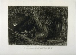 """And while the troubled moon shrunk in and out..."", second illustration for Eclogue 8, opposite page 82 in the book An English Version of the Eclogues of Virgil by Samuel Palmer (London: Seeley & Company, 1883)"