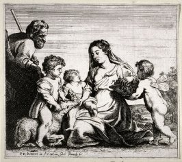 The Holy family, the infant Jesus plays with St. John, who sits on a lamb, and the Virgin takes grapes from a basket that an angel holds.
